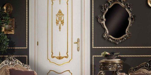 Nice Baroque Style Interior Design With Luxury White Door In Baroque Style In A Dark Room Interior Design