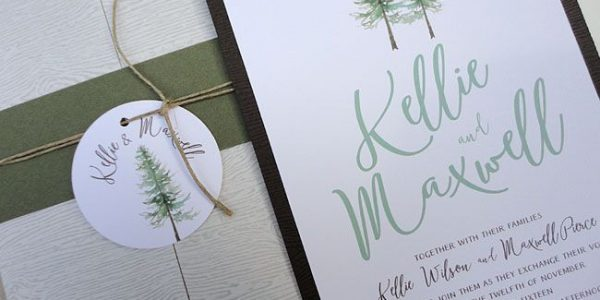 pine tree wedding invitation by Nooney Art Designs