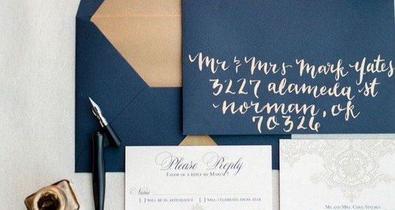 midnight blue background and metallic silver script for New Year's Eve wedding Invitation