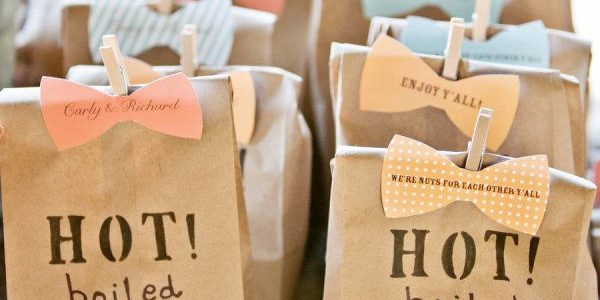Packaging—it's totally fine to put your personal touch on the boxes, bags, ribbons or labels. It'll make for a pretty presentation, but won't put off your guests.