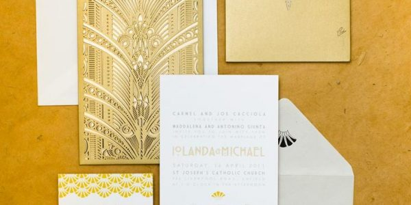 Gold calligraphy adds a touch of glamour