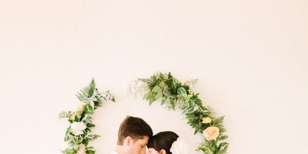 Wreaths can be used for a beautiful wedding ceremony altar backdrop