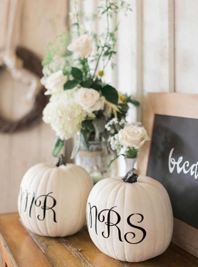 Use pumpkins as your base for small-worded signage