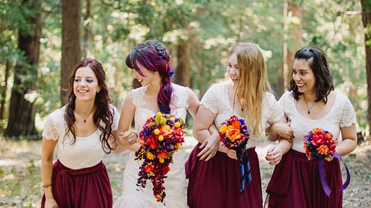 We're dying over how perfectly this bride rocks her statement wedding gown