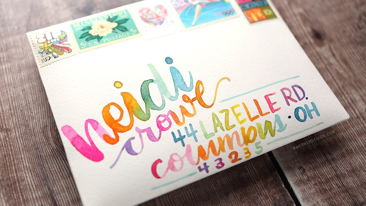 Ombre Watercolor Hand Lettered Envelope