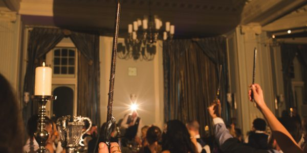 At this wedding, vows were said over the Goblet of Firewhile a Snape-look-alike presided