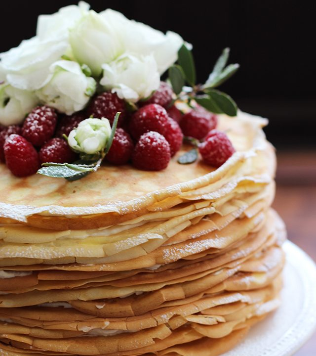 Skip the traditional wedding cake and create your dessert out of layers of crepes and icing