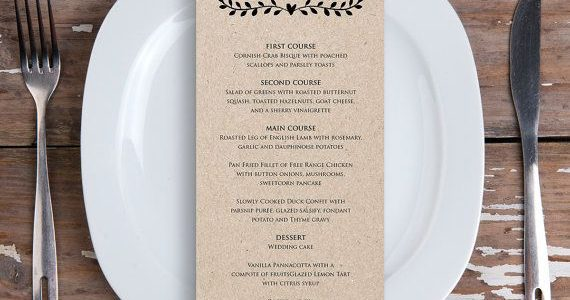 The menus for a plated dinner are pretty easy to craft