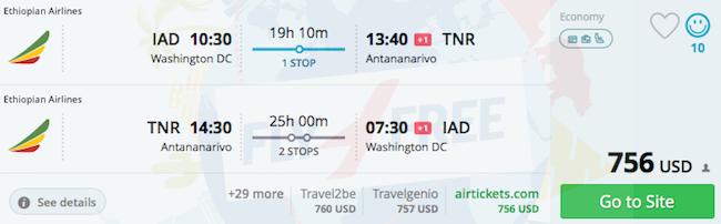 Washington to Antananarivo