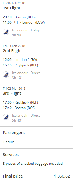 BOS to LGW, LGW to KEF, KEF to BOS