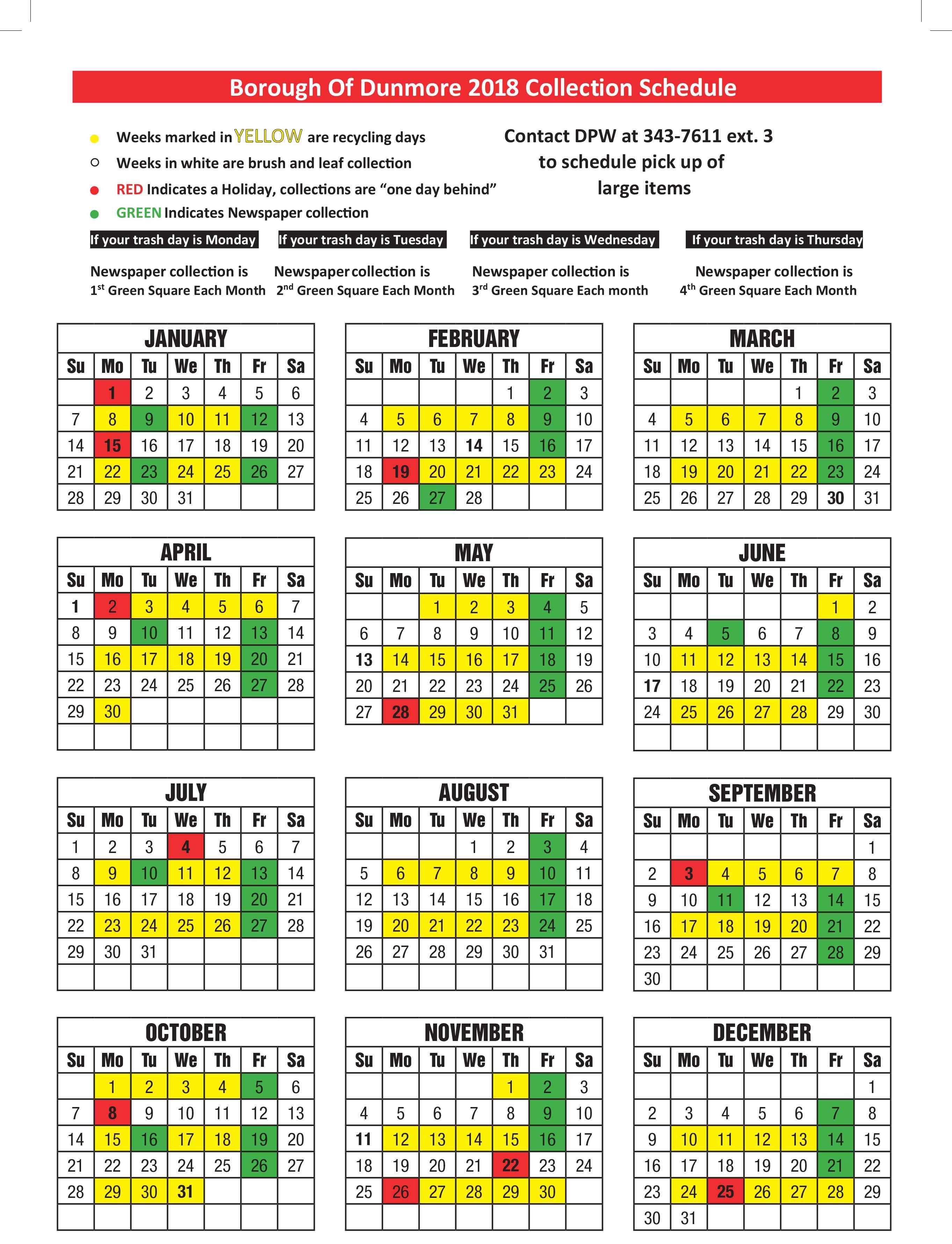 The Borough's refuse Calendar for 2018