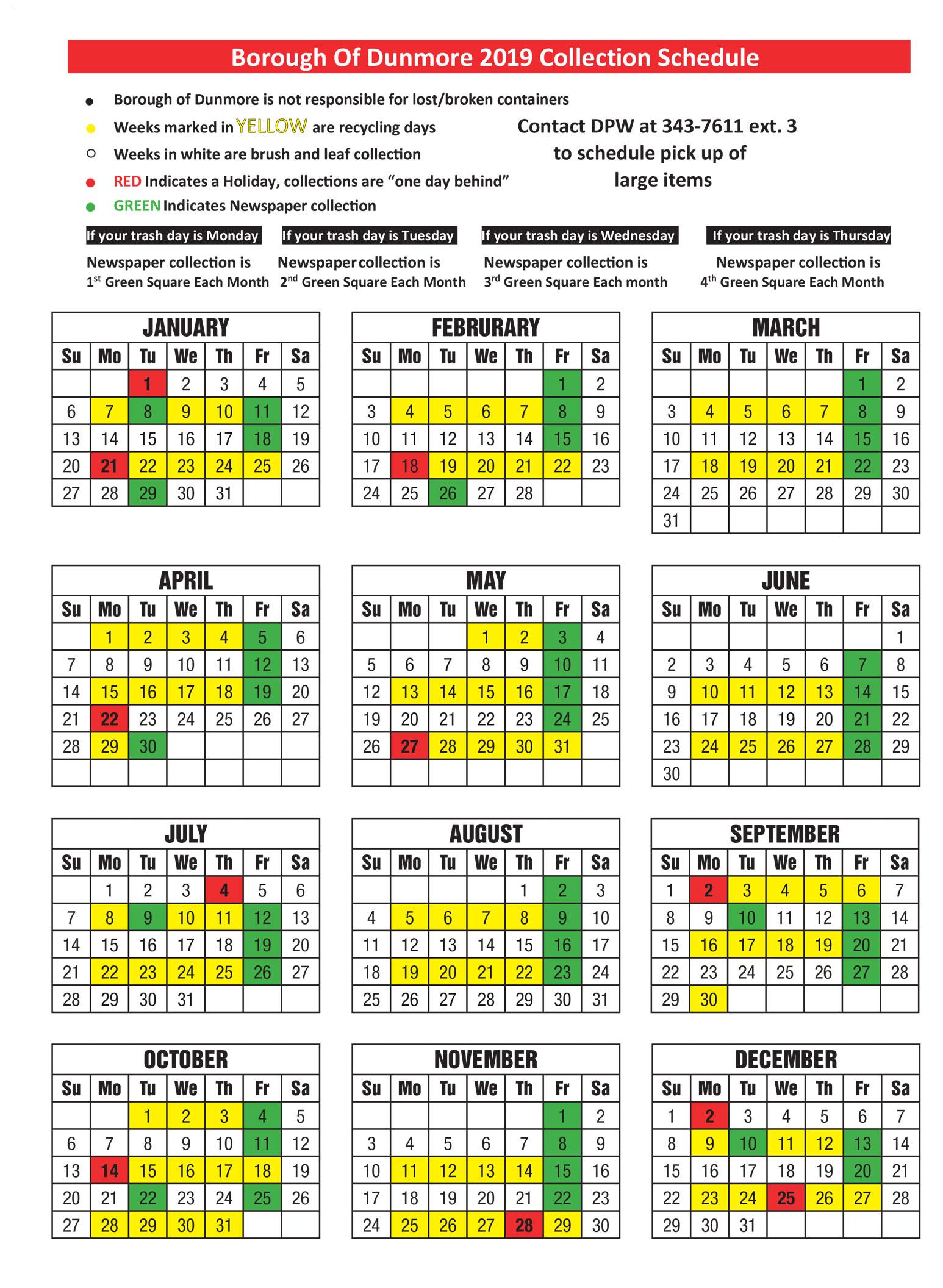 2019 Dunmore trash pickup dates