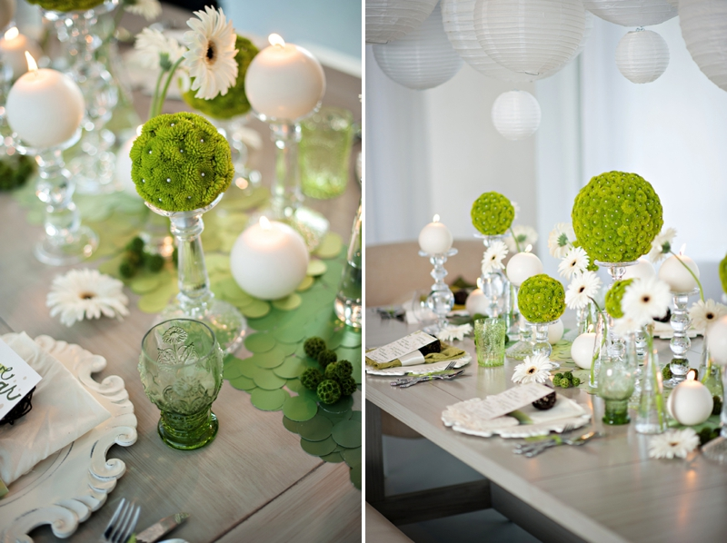 Modern Circle Inspired Green White Wedding Inspiration Via TheELD