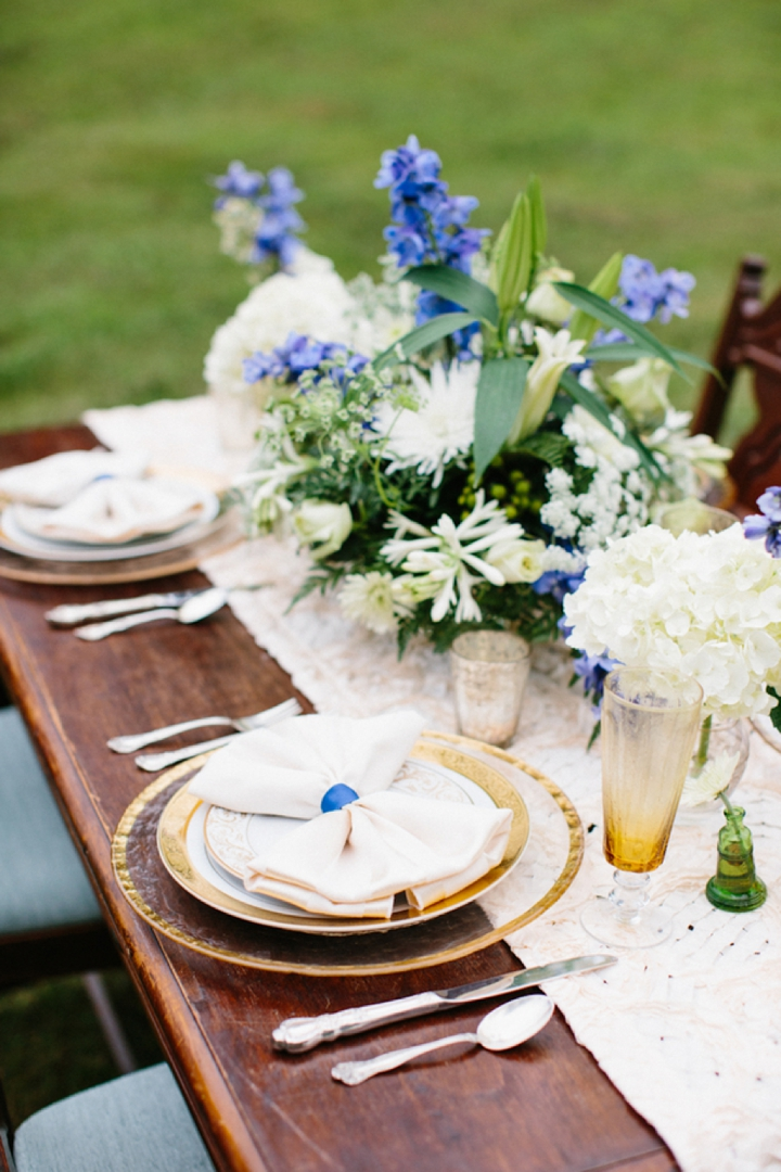 Elegant Lakeside Blue and Green Wedding Inspiration via TheELD.com