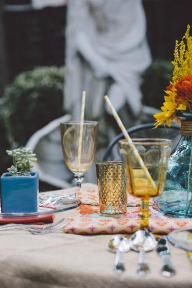 Aqua and Orange Boho Inspired Wedding Ideas via TheELD.com