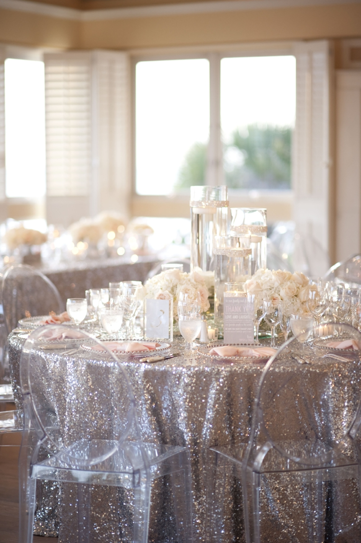 A Glamorous Silver Blush Beach Wedding Via TheELD