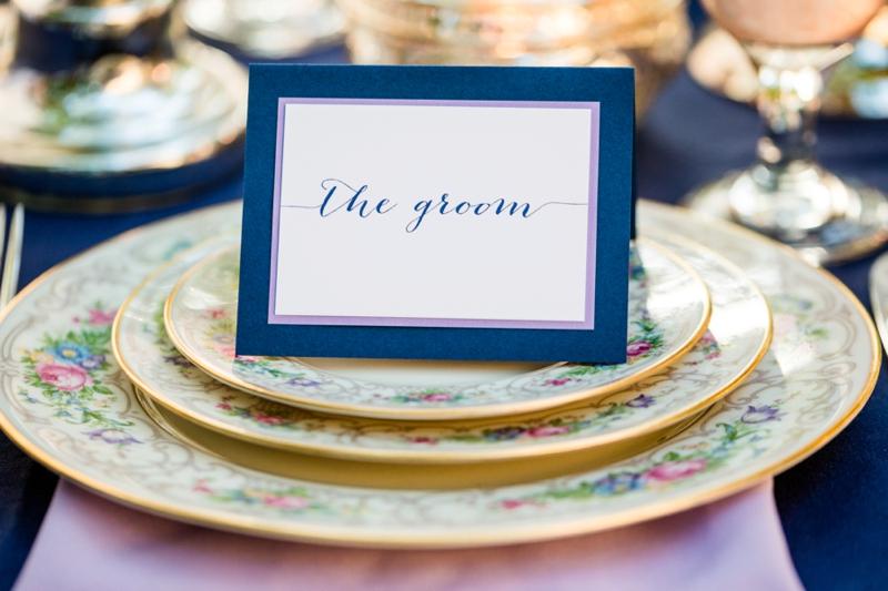 Romantic, Whimsical Navy and Lavender Wedding Ideas via TheELD.com