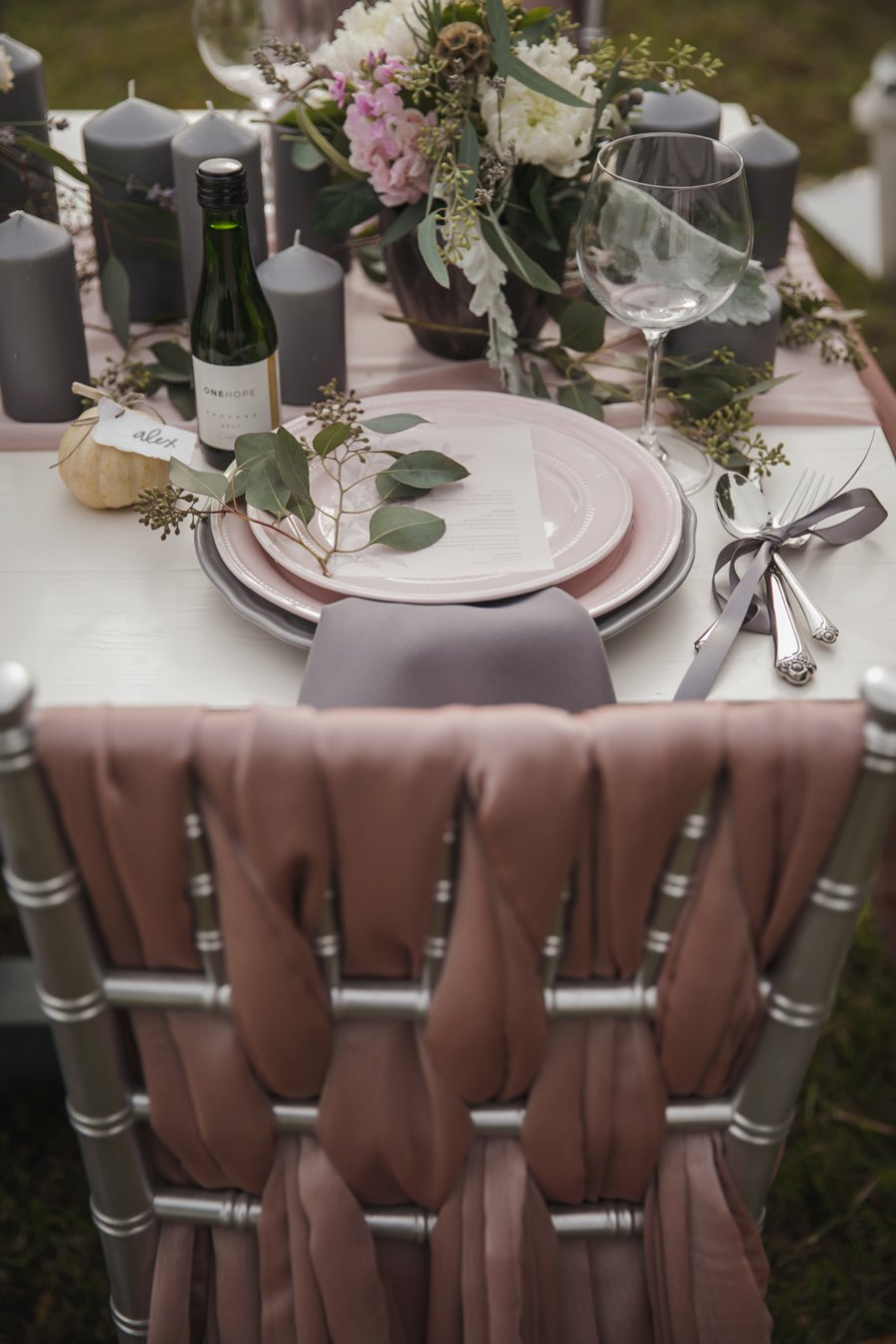 Soft Blush and Gray Wedding Inspiration via TheELD.com