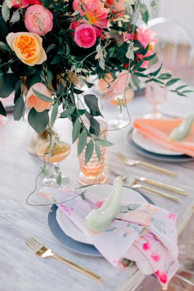 Pink & Peach Florida Floral Garden Wedding Ideas via TheELD.com