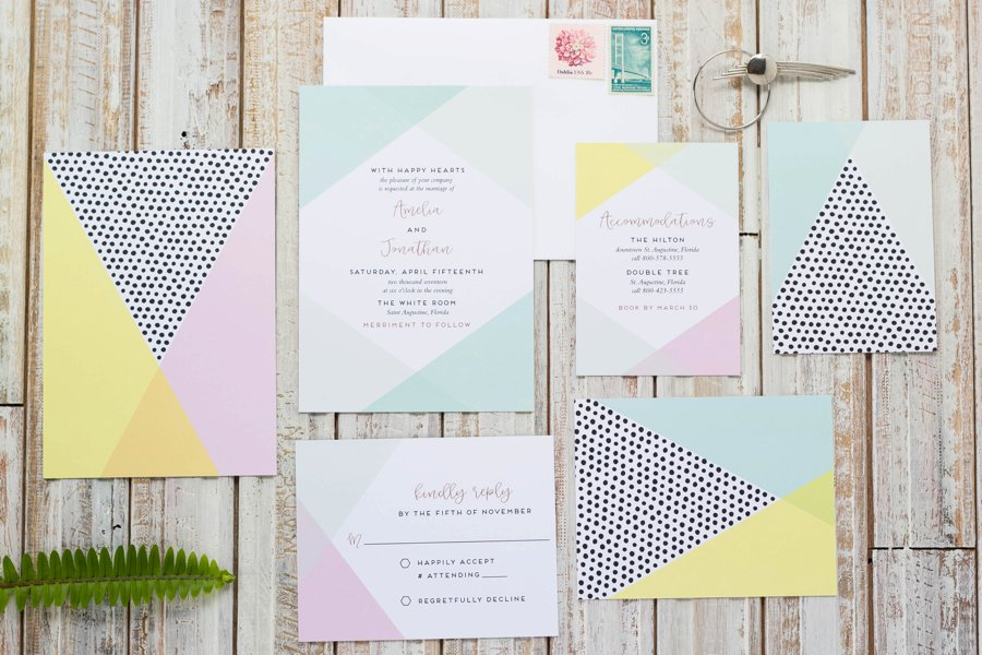 Colorful Modern Wedding Invitations via TheELD.com