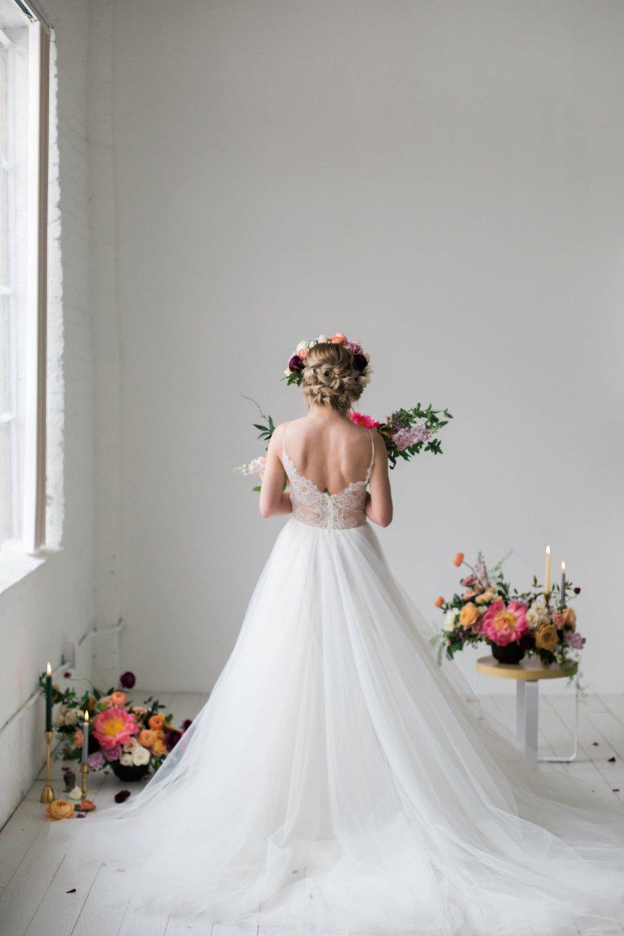 Colorful Coral & Peach Floral Wedding Inspiration via TheELD.com