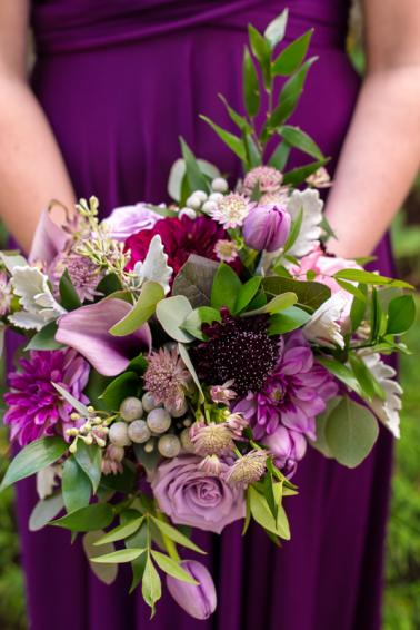 A Purple and Green Rustic Canadian Fall Wedding via TheELD.com