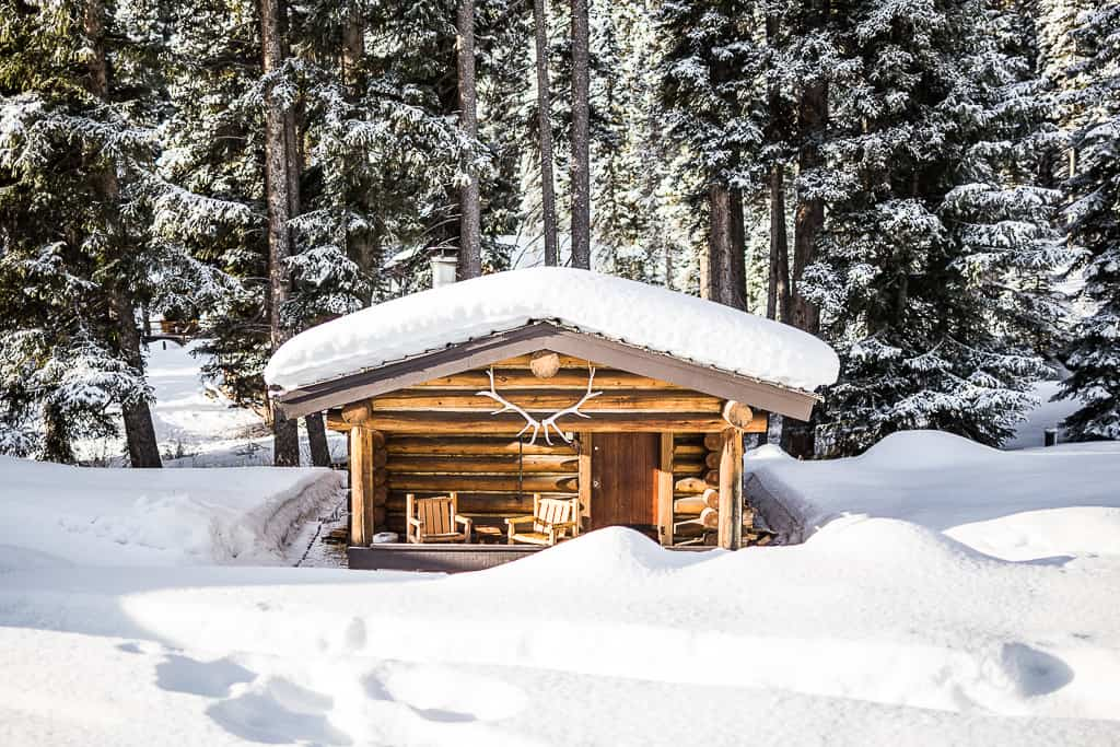 Bald Eagle cabin covered in snow.
