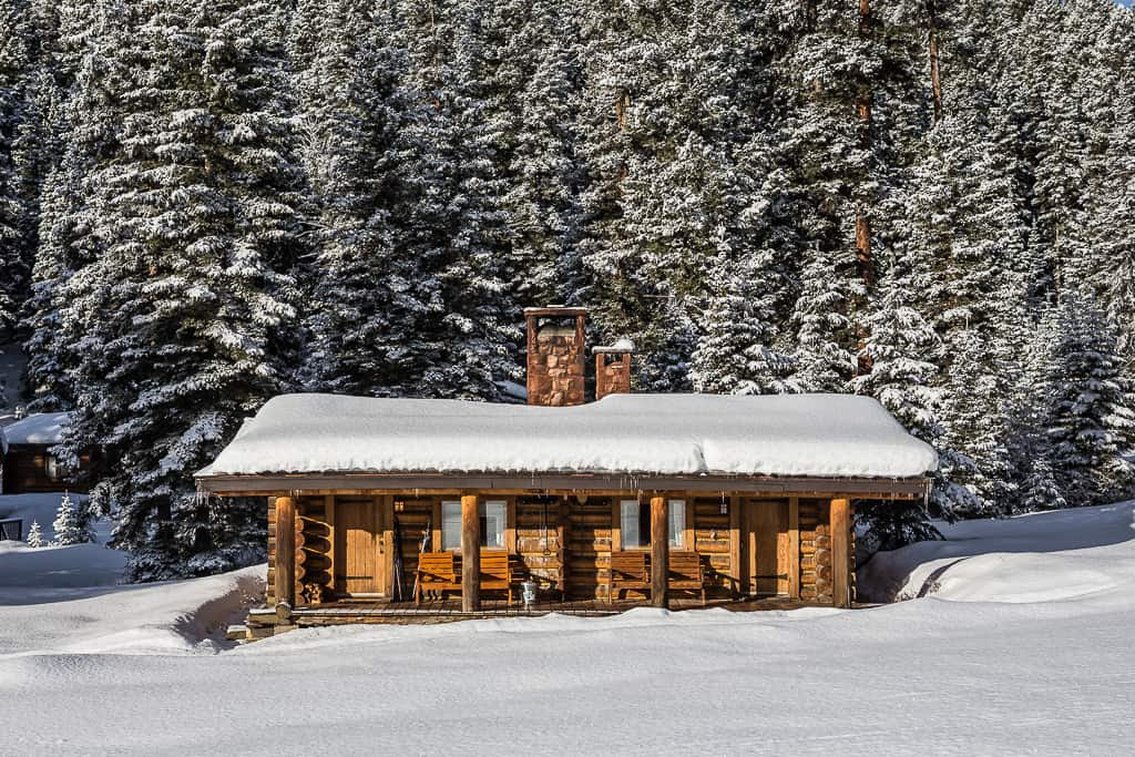Black Bear & Cougar Cabin covered in snow
