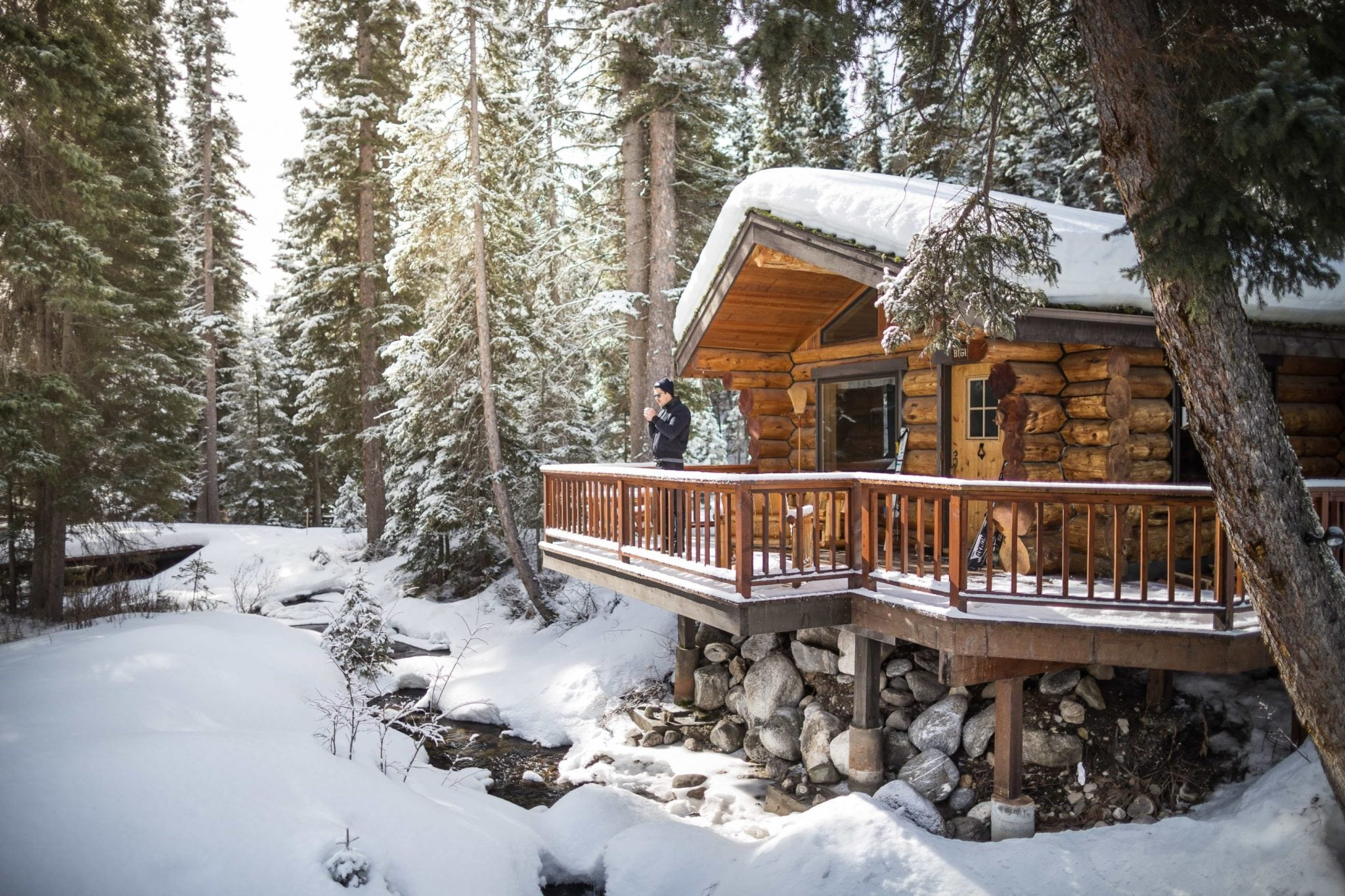 Bighorn cabin covered in snow