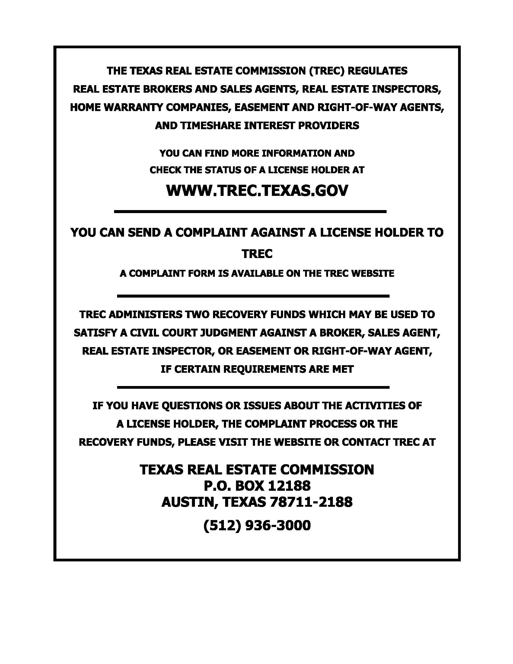 Legacy Land and Ranches, Eric Williams, TREC Notice