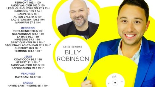 Cette semaine à Studio M : Billy Robinson