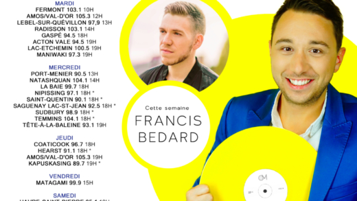 Cette semaine à Studio M : Francis Bedard