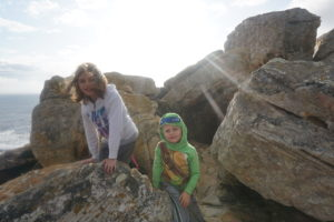 Avital and Eliav climbing to the top at the Cape of Good Hope