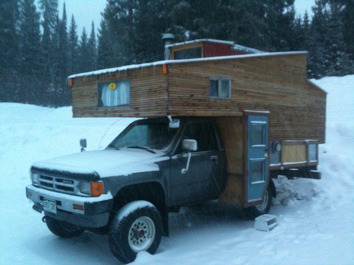 . Custom Built Truck Camper Makes a Cozy Ski Chalet   RVshare com
