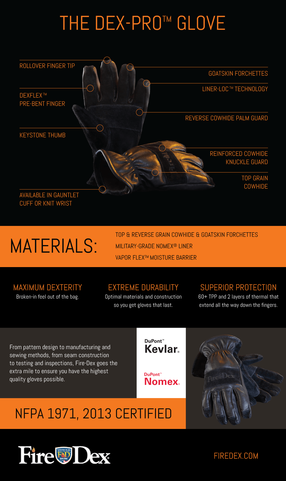 The Dex-Pro Leather Fire Glove
