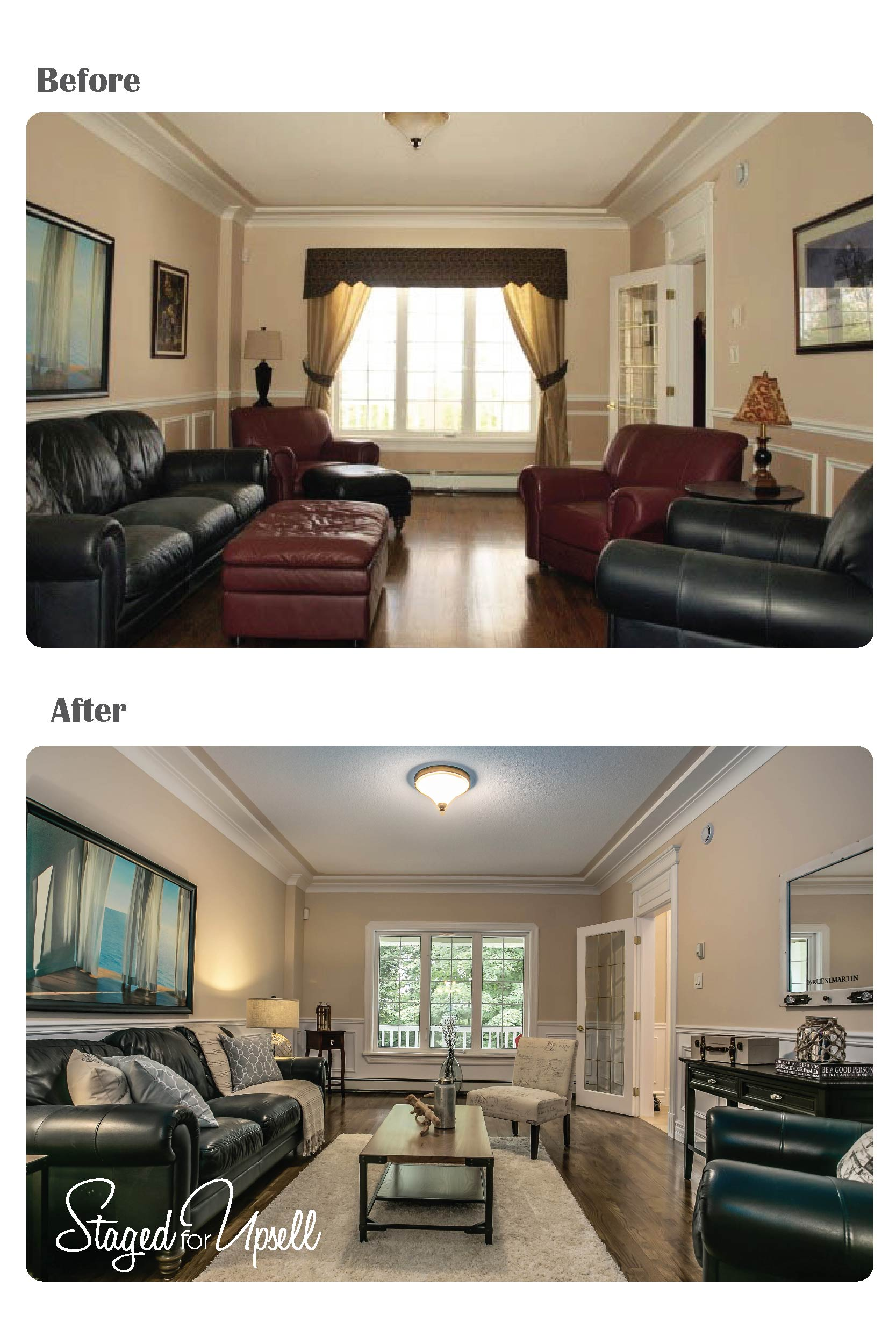 Before and after staged for upsell for Staging before and after