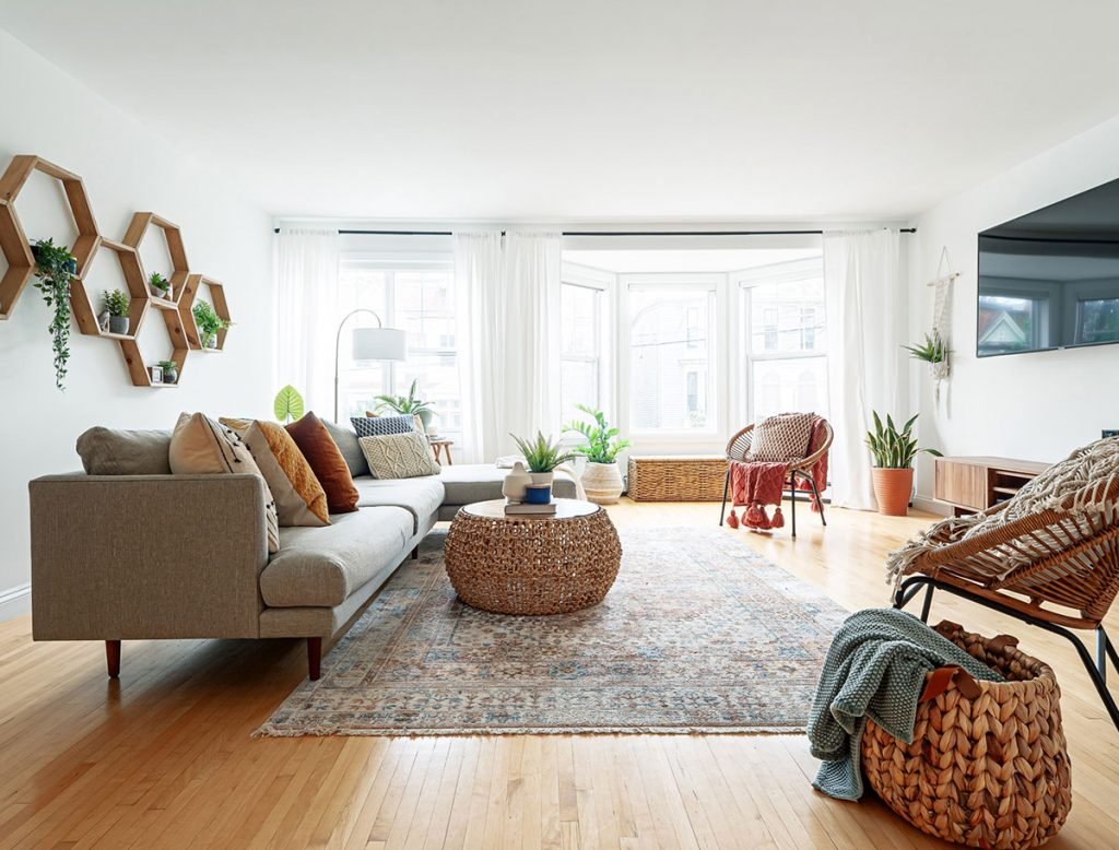Living room wicker chairs