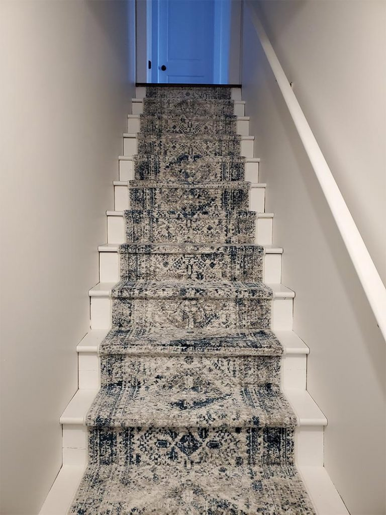 After photo of a DIY stair runner