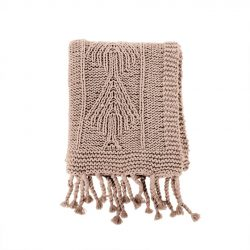 Cotton Knit Throw Beige