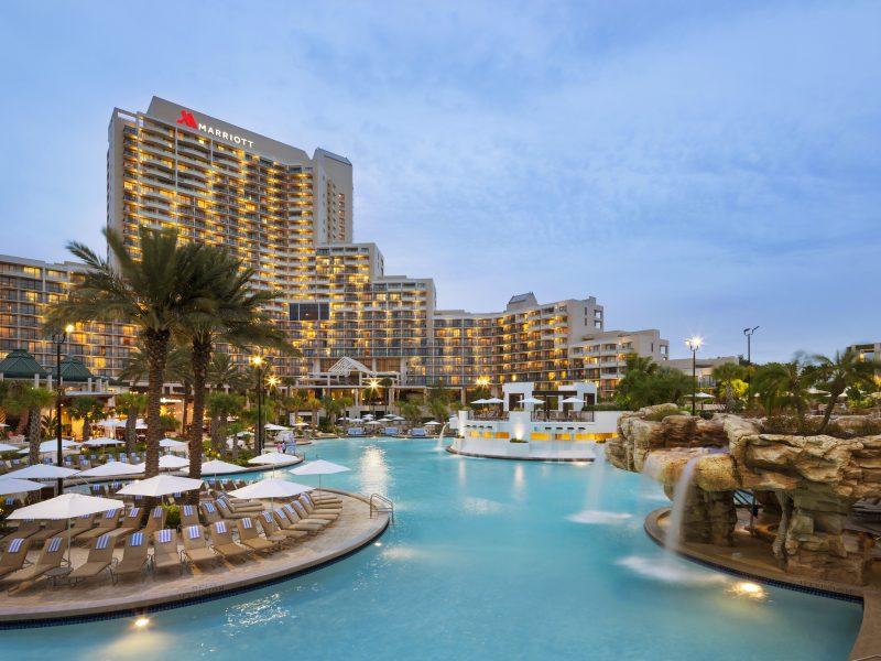 Orlando World Center Marriott dusk pool from rocks # 21823