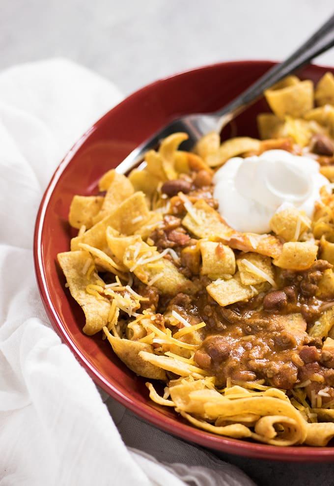 frito chili pie made in the crockpot