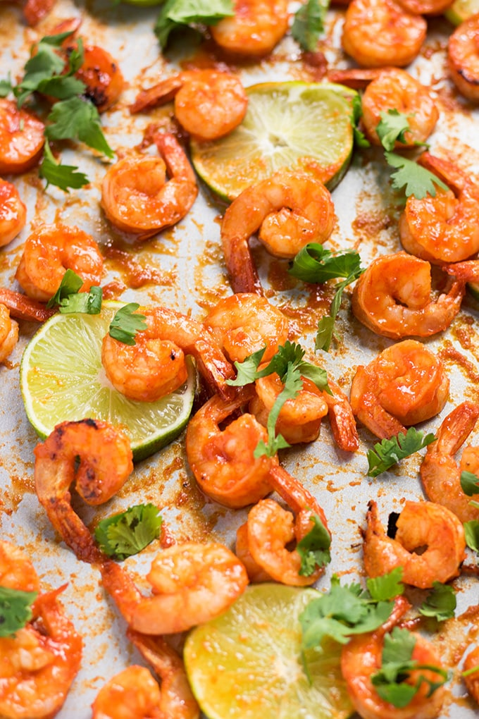 sriracha shrimp sheet pan
