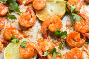 Sheet Pan Sriracha Honey Lime Shrimp