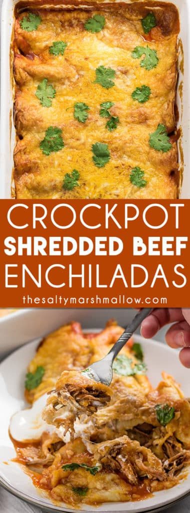 Shredded Beef Enchiladas: These shredded beef enchiladas are an easy to make slow cooker enchilada recipe! Tender Mexican shredded beef slow cooked in the crockpot to perfection, rolled inside of flour or corn tortillas and smothered with enchilada sauce and cheese!