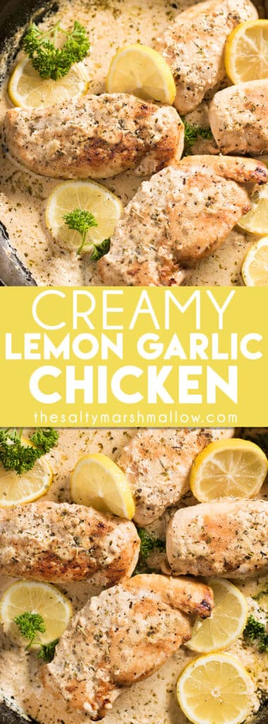 Creamy Lemon Garlic Chicken is an easy one pot recipe you can make with chicken breasts or thighs! This chicken recipe makes for the best easy weeknight dinner with only 20 minutes from skillet to table, and the best cream sauce packed with lemon and garlic flavor.