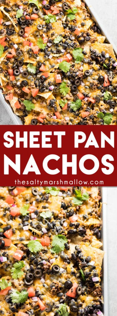 Sheet Pan Nachos: These easy to make sheet pan nachos are layered with ground beef, black beans, cheese, and your favorite toppings! Nachos that are made in the oven and perfect as an easy weeknight dinner or to feed the game day crowd!