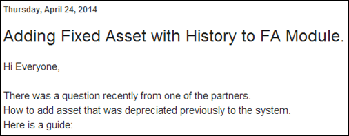Sergey Blog: Adding Fixed Asset with History to FA Module