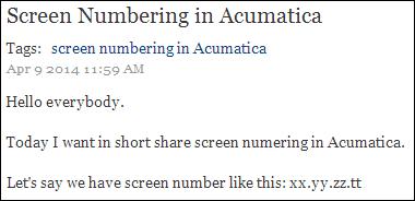 Zaletskyy's blog: Screen Numbering in Acumatica