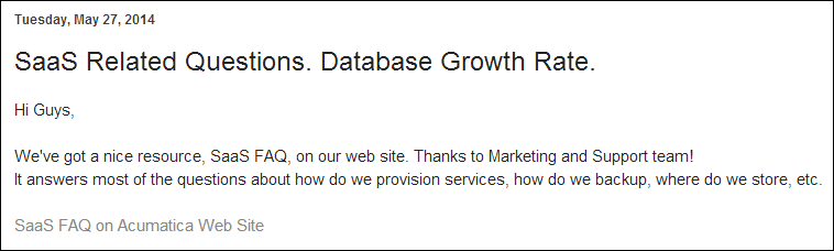 Acumatica SaaS Related Questions and Database Growth Rate
