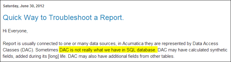 DAC is not really what we have in the SQL database